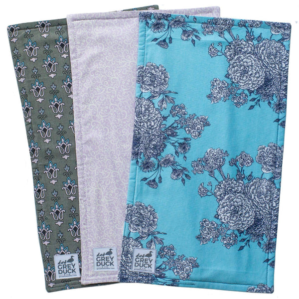 Blue & Lavender Floral Burp Cloth Set
