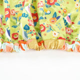 Bright Green Fitted Crib Sheet with Birds and Florals