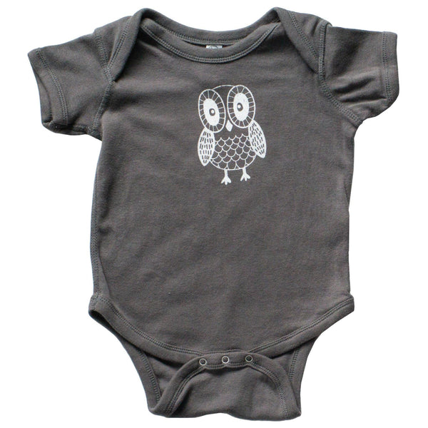 Charcoal Owl Infant One-Piece - Grey Duck & Co.