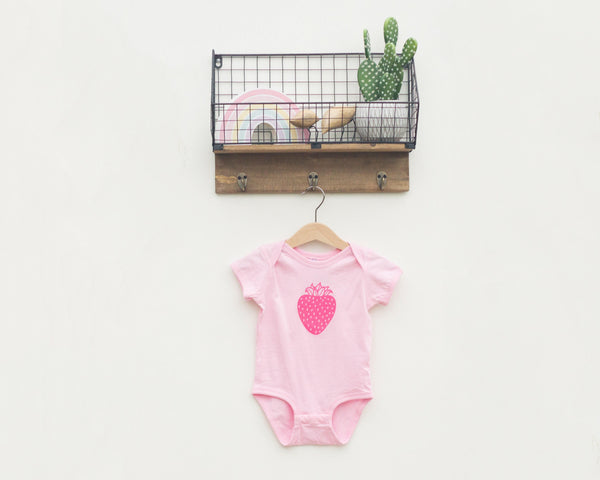 Pink Strawberry Infant Oneise - Grey Duck & Co.