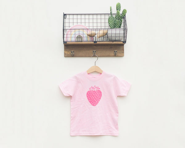Pink Strawberry Toddler T-Shirt - Grey Duck & Co.