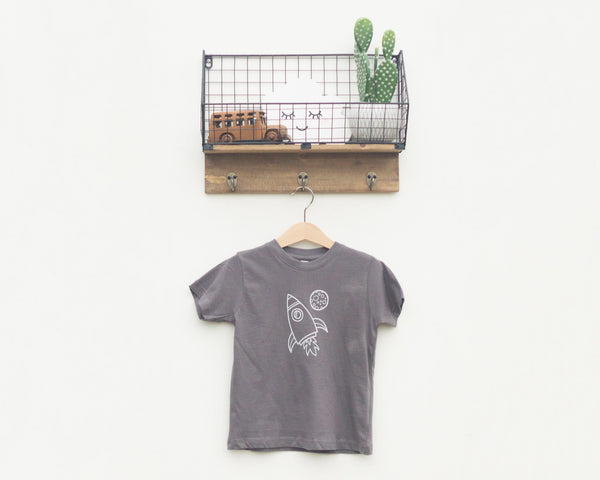 Charcoal Rocket Ship Toddler T-Shirt - Grey Duck & Co.