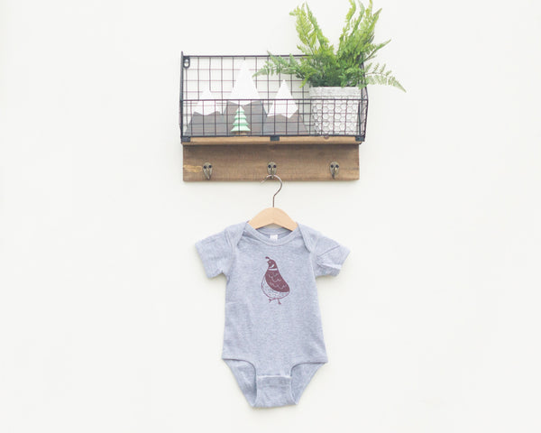 Grey Quail Infant Bodysuit - Grey Duck & Co.
