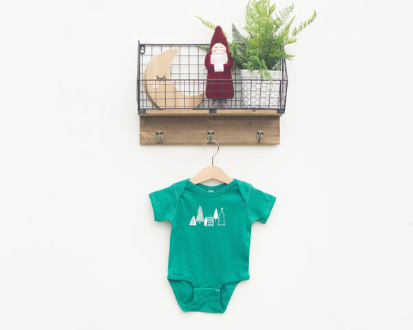 Green Trees and Cabin Infant Bodysuit - Grey Duck & Co.