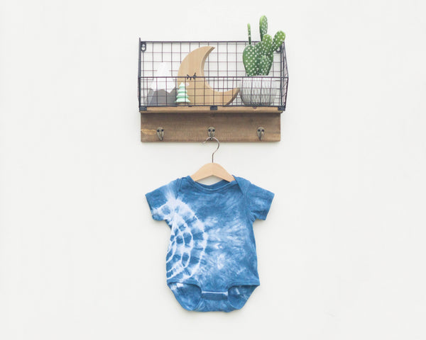 Indigo Dyed Infant Bodysuit - Side Circle - Grey Duck & Co.