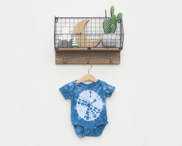 Indigo Dyed Infant Bodysuit - Front Middle Circle - Grey Duck & Co.