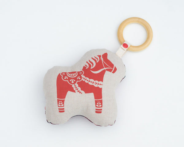 Jumbo Swedish Dala Horse Rattle Teether - Grey Duck & Co.