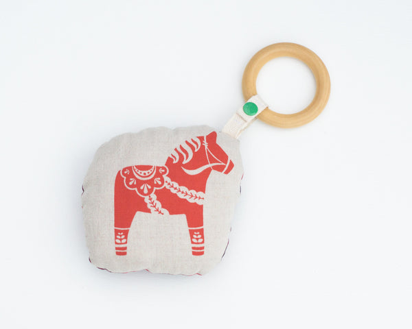 Swedish Dala Horse Rattle Teether - Grey Duck & Co.