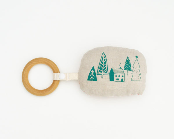 Green Cabin Rattle Teether - Grey Duck & Co.