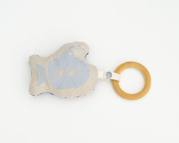 Submarine Rattle Teether - Grey Duck & Co.