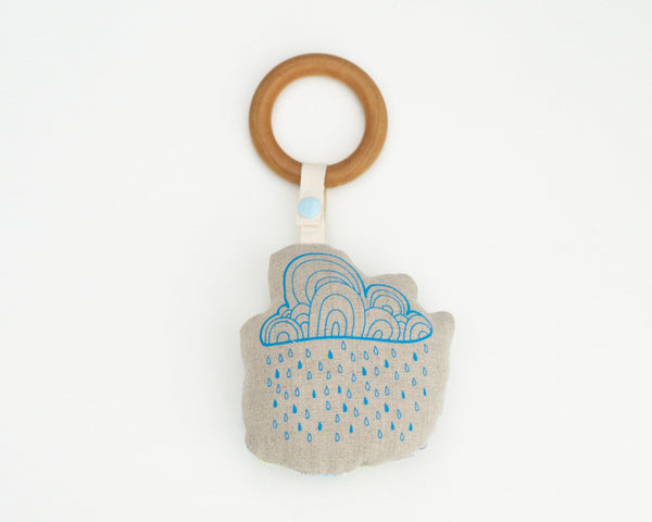 Raincloud Rattle Teether - Grey Duck & Co.