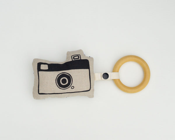 Camera Rattle Teether - Grey Duck & Co.