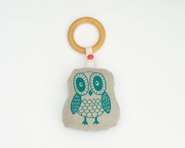 Owl Rattle Teether - Grey Duck & Co.