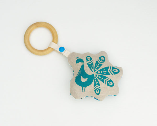 Peacock Rattle Teether - Grey Duck & Co.