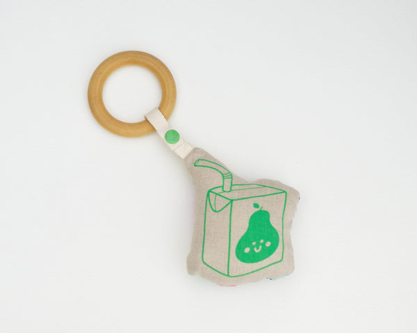 Pear Juice Box Rattle Teether - Grey Duck & Co.