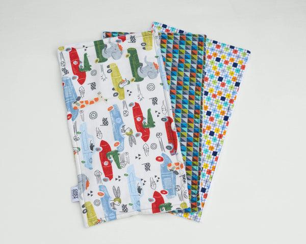Animals in Cars & Plaid Burp Cloth Set - Grey Duck & Co.