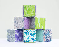 Purple & Green Fabric Block Set - Set of 6 - Grey Duck & Co.