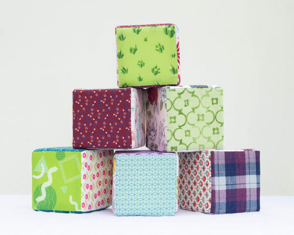 Red & Green Fabric Block Set - Set of 6 - Grey Duck & Co.