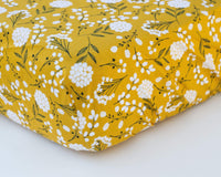 Mustard Floral Infant Crib Sheet - Grey Duck & Co.