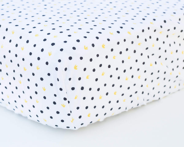 Black Polka Dot with Yellow Infant Flannel Crib Sheet - Grey Duck & Co.