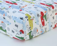 Animals Driving Racecars Infant Flannel Crib Sheet - Grey Duck & Co.