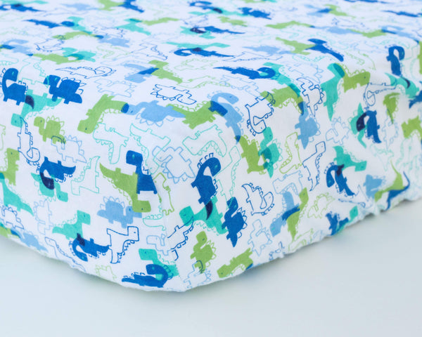 Blue & Green Dinosaurs Infant Flannel Crib Sheet - Grey Duck & Co.