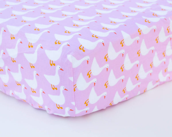 Pink Duck Infant Crib Sheet - Grey Duck & Co.