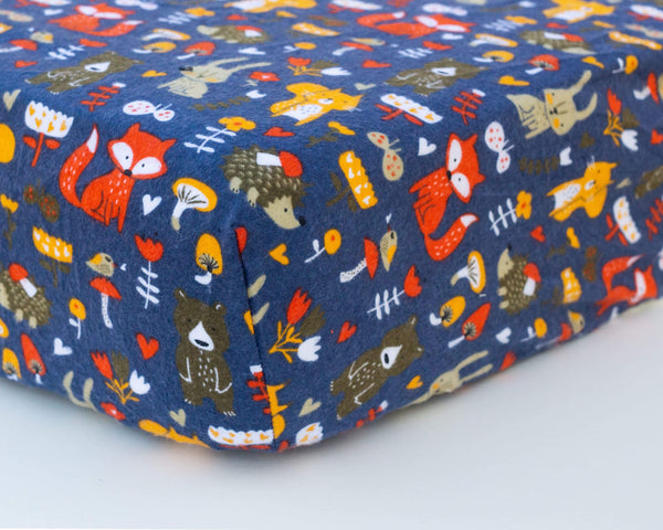 Blue, Red, & Yellow Woodland Animals Infant Flannel Crib Sheet - Grey Duck & Co.