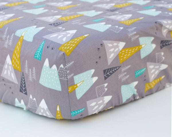 Grey, Mustard, & Aqua Infant Crib Sheet - Grey Duck & Co.