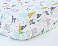Mustard, Aqua, Forest, & Mountain Infant Crib Sheet - Grey Duck & Co.