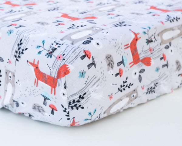 Grey Forest & Foxes Infant Flannel Crib Sheet - Grey Duck & Co.