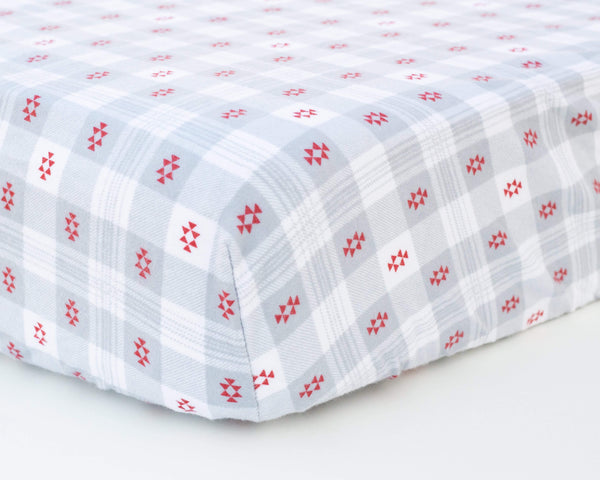 Grey Plaid Aztec Infant Flannel Crib Sheet - Grey Duck & Co.