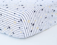 Black & White Stripes with Stars Infant Crib Sheet - Grey Duck & Co.
