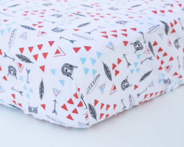 Bear, Feather, & Triangle Infant Flannel Crib Sheet - Grey Duck & Co.