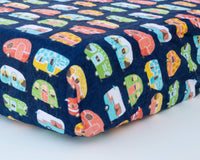 Colorful Camper Trailer Infant Flannel Crib Sheet - Grey Duck & Co.