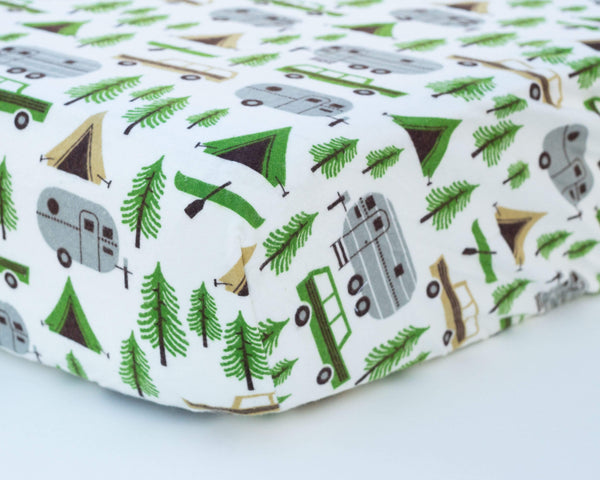 Camper Trailer & Station Wagon Infant Flannel Crib Sheet - Grey Duck & Co.