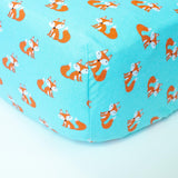 Light Blue Crib Sheet with Foxes