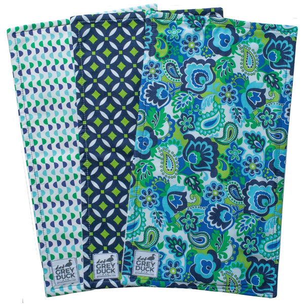 Navy & Lime Green Paisley Burp Cloth Set