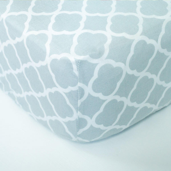 Grey & White Geometric Fitted Crib Sheet - Grey Duck & Co.