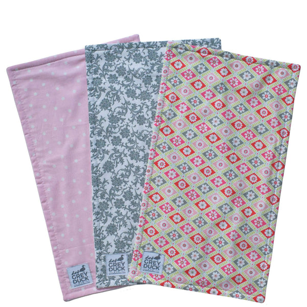 Grey & Pink Floral Polka Dots Burp Cloth Set