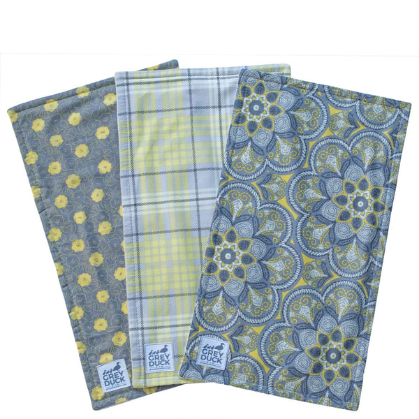 Grey & Yellow Floral with Plaid Set