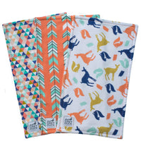 Coral & Navy Animals Burp Cloth Set