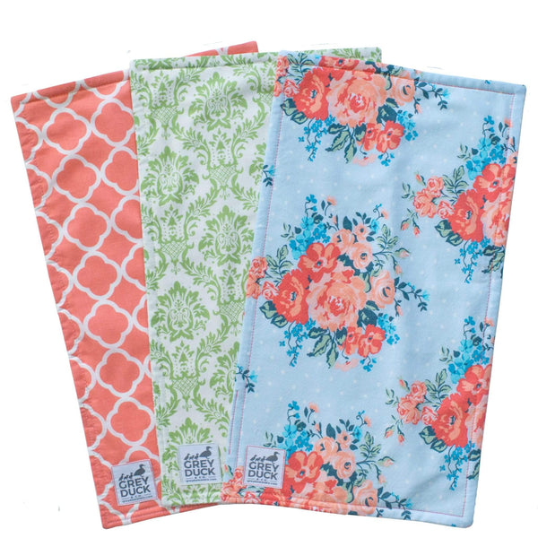 Coral & Green Floral Burp Cloth Set