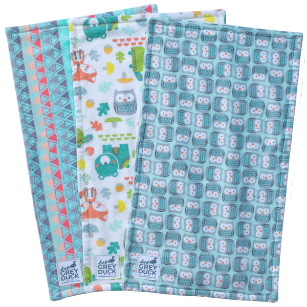 Mint & Grey Owls Burp Cloth Set
