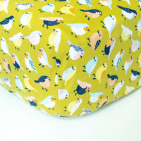 Mustard Crib Sheet with Birds - Grey Duck & Co.