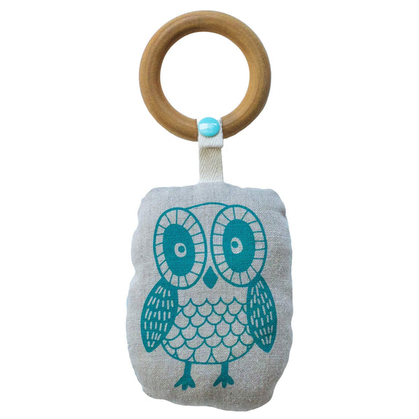 Owl Rattle with Wooden Teething Ring