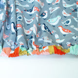 Grey Fitted Crib Sheet with Paisley Birds