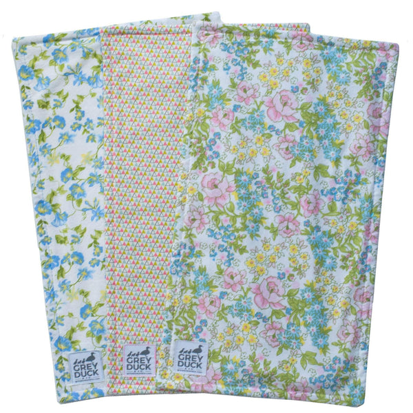 Pastel Floral & Triangle Burp Cloth Set