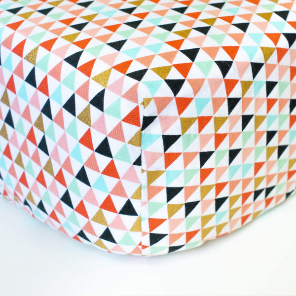 White Fitted Crib Sheet with Pastel & Gold Triangles