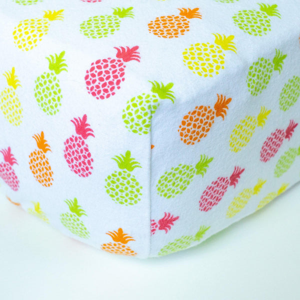 White Fitted Crib Sheet with Neon Pineapples - Grey Duck & Co.